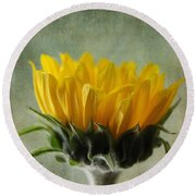 Just Opening Sunflower Round Beach Towel by Denyse Duhaime