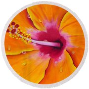 Just Peachy - Hibiscus Flower  Round Beach Towel
