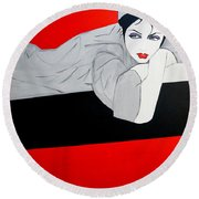 Just Relaxing Round Beach Towel by Nora Shepley