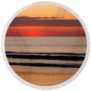 Round Beach Towel featuring the photograph Just Showing Up Along Hampton Beach by Eunice Miller