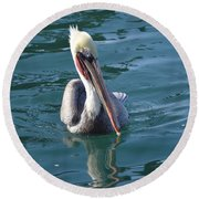 Round Beach Towel featuring the photograph Just Wading by Laurie L