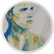 Justin Bieber Round Beach Towel by Chrisann Ellis