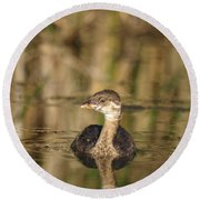 Round Beach Towel featuring the photograph Juvenile Pied-billed Grebe by James Peterson
