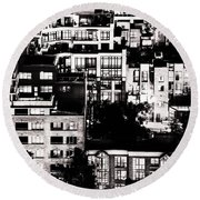 Round Beach Towel featuring the photograph Black And White - Juxtaposed And Intimate Vancouver View At Night - Fineart Cards by Amyn Nasser