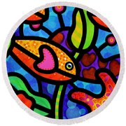 Kaleidoscope Reef Round Beach Towel