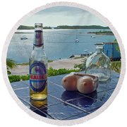 Kalik Beer Bottle At The Front Porch Round Beach Towel
