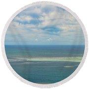 Kaneohe Sandbar Panorama Round Beach Towel