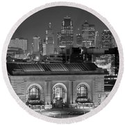Round Beach Towel featuring the photograph Kansas City Skyline At Night Kc Downtown Black And White Bw Panorama by Jon Holiday
