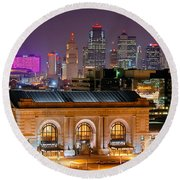 Round Beach Towel featuring the photograph Kansas City Skyline At Night Kc Downtown Color Panorama by Jon Holiday