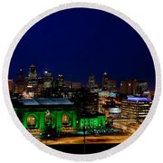 Kansas City Skyline Round Beach Towel