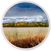 Kansas Fall Landscape Round Beach Towel