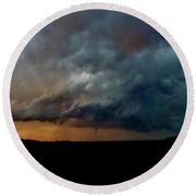 Round Beach Towel featuring the photograph Kansas Tornado At Sunset by Ed Sweeney