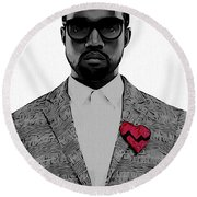 Kanye West  Round Beach Towel by Dan Sproul