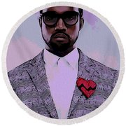 Kanye West Poster Round Beach Towel by Dan Sproul