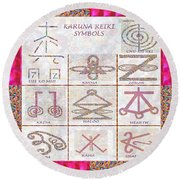 Karuna Reiki Healing Power Symbols Artwork With  Crystal Borders By Master Navinjoshi Round Beach Towel