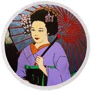 Kasa O Motsu Miryoku - Tekina Geisha Round Beach Towel by Roberto Prusso