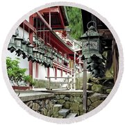Kasuga Lantern Shrine - Nara Japan Round Beach Towel