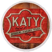 Katy Railroad Sign Dsc02853 Round Beach Towel