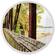 Katy Trail Near Coopers Landing Round Beach Towel by Cricket Hackmann