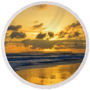 Kauai Sunset With Niihau On The Horizon Round Beach Towel by Catherine Sherman