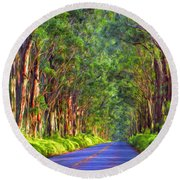 Kauai Tree Tunnel Round Beach Towel