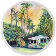 Kauai West Side Cottage Round Beach Towel by Marionette Taboniar