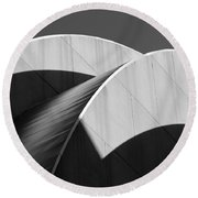 Kauffman Center Curves And Shadows Black And White Round Beach Towel