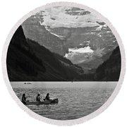 Kayak On Lake Louise Round Beach Towel by RicardMN Photography