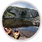 Kayak Time - The Landscape Of Cales Coves Menorca Is A Great Place For Peace And Sport Round Beach Towel