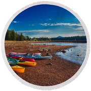 Kayaking On Howard Prairie Lake In Oregon Round Beach Towel