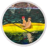 Round Beach Towel featuring the painting Kayaks by Donald J Ryker III