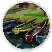 Kazinga Channel Boats Round Beach Towel