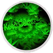 Keep Calm - Green Fractal Weed Art Round Beach Towel