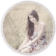 Keep Me In Your Heart Round Beach Towel