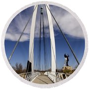 Keeper Of The Plains Bridge View Round Beach Towel