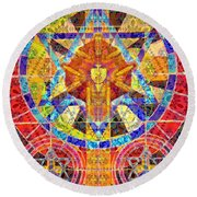 Keeper Of The Sacred Symbols Round Beach Towel by Joseph J Stevens