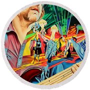 Round Beach Towel featuring the painting Keith Moseley At Horning's Hideout by Joshua Morton