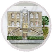 Kelly Temple Church In East Harlem Round Beach Towel by AFineLyne