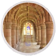 Kelso Abbey Stained Glass Round Beach Towel