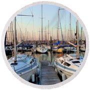Kemah Boardwalk Marina Round Beach Towel
