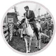 Kennedy Rides A Mule Round Beach Towel