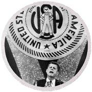 Kennedy Speaks To Steelworkers Round Beach Towel