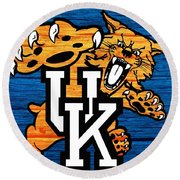 Kentucky Wildcats Barn Door Round Beach Towel
