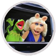 Kermit Takes Miss Piggy To The Movies Round Beach Towel by Nina Prommer