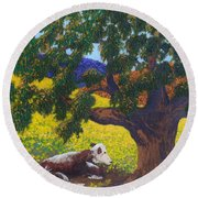 Kern County Cow Round Beach Towel