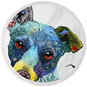 Round Beach Towel featuring the painting Jack by Luis Ludzska