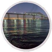 Key Bridge At Night Round Beach Towel
