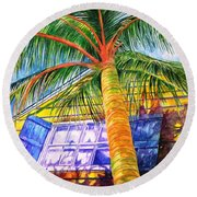 Key West Cat On A Hot Tin Roof Round Beach Towel