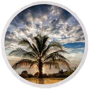 Key West Florida Lone Palm Tree  Round Beach Towel