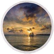 Key West Florida Sunset Mallory Square Round Beach Towel